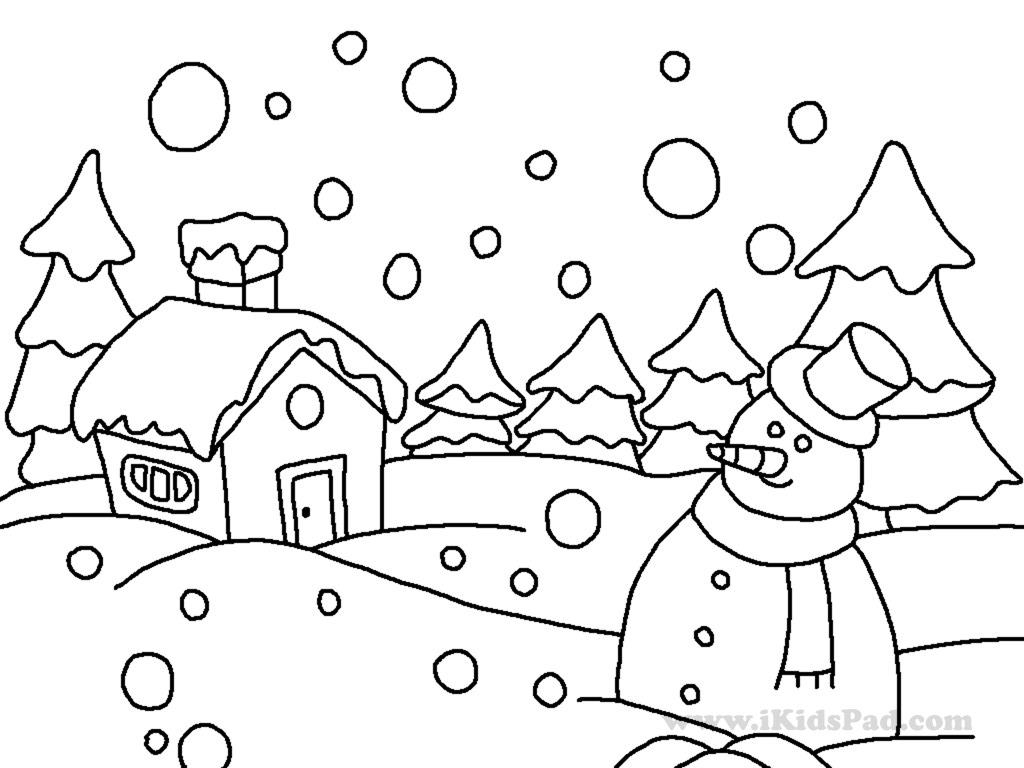 1024x768 Drawing Of Winter Scene Winter Snow Scene Coloring Page Coloring