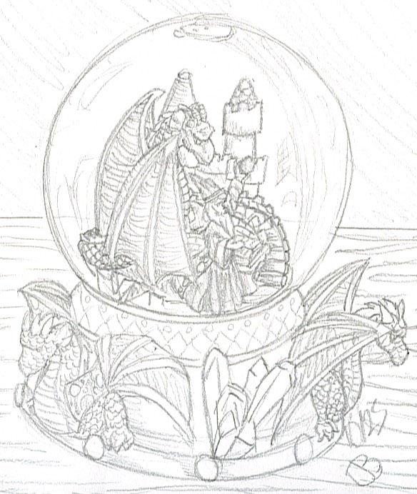 584x692 Dragon And Wizard Snowglobe By Jessijoke