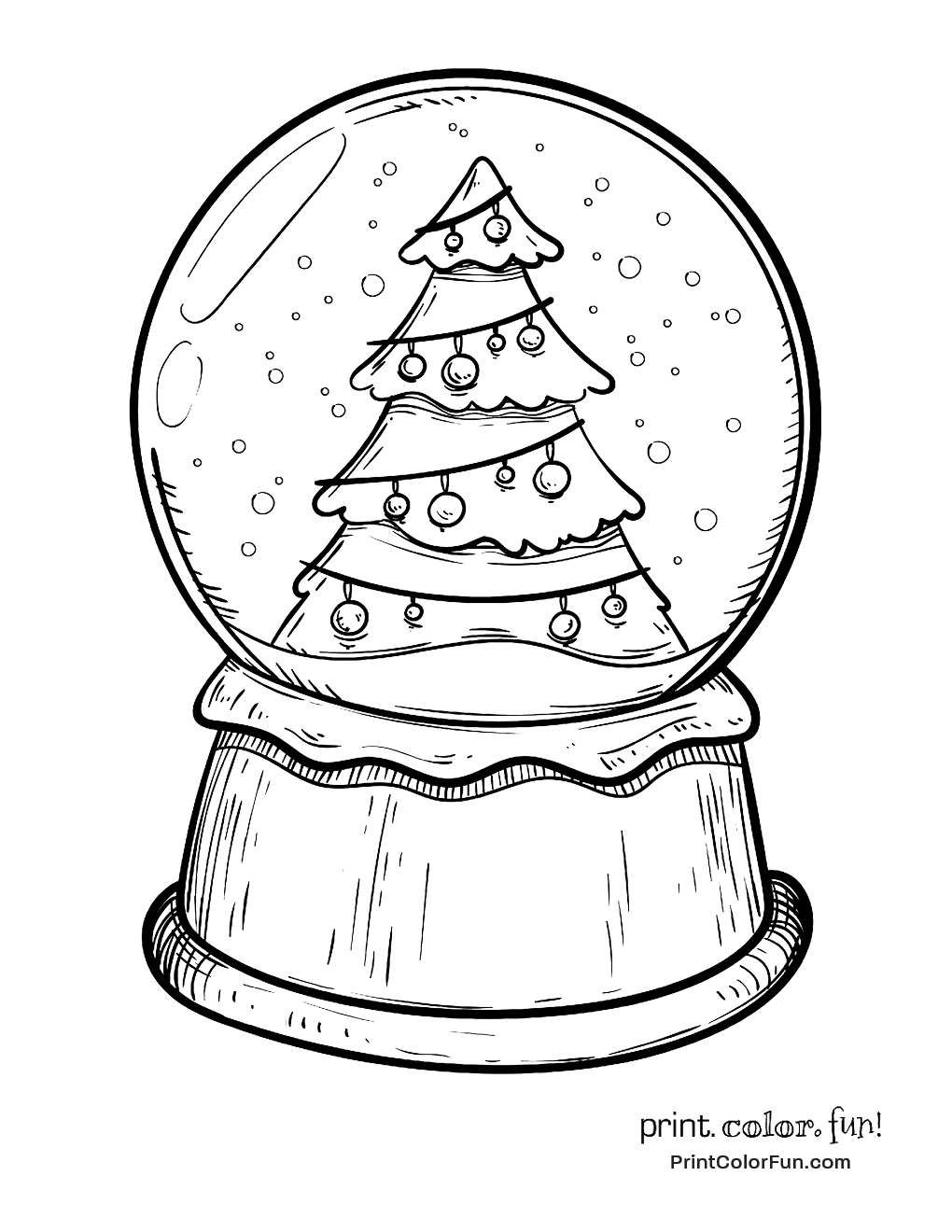 1020x1320 Snow Globe With A Christmas Tree Coloring Page