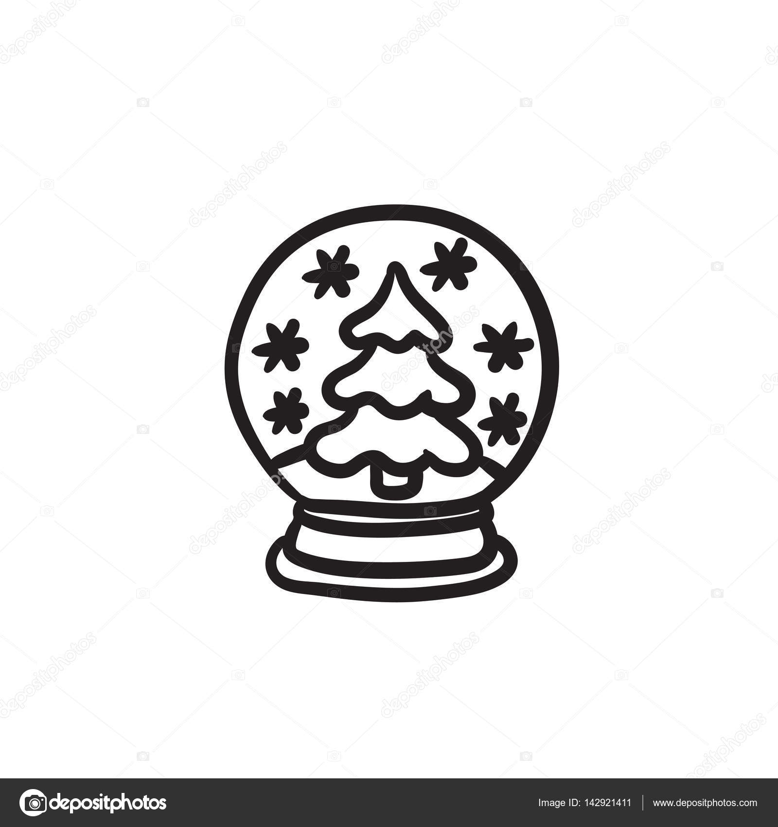 1600x1700 Snow Globe With Christmas Tree Sketch Icon. Stock Vector