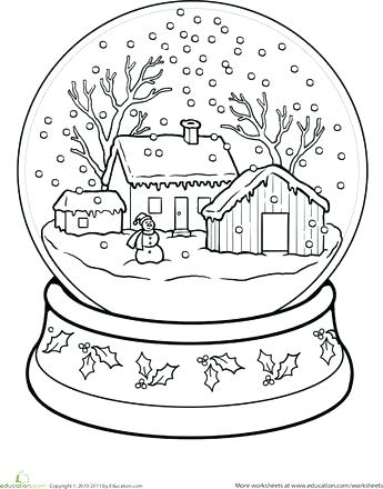 345x440 Snowflake Coloring Pages For Adults Snow Globe Page Worksheets