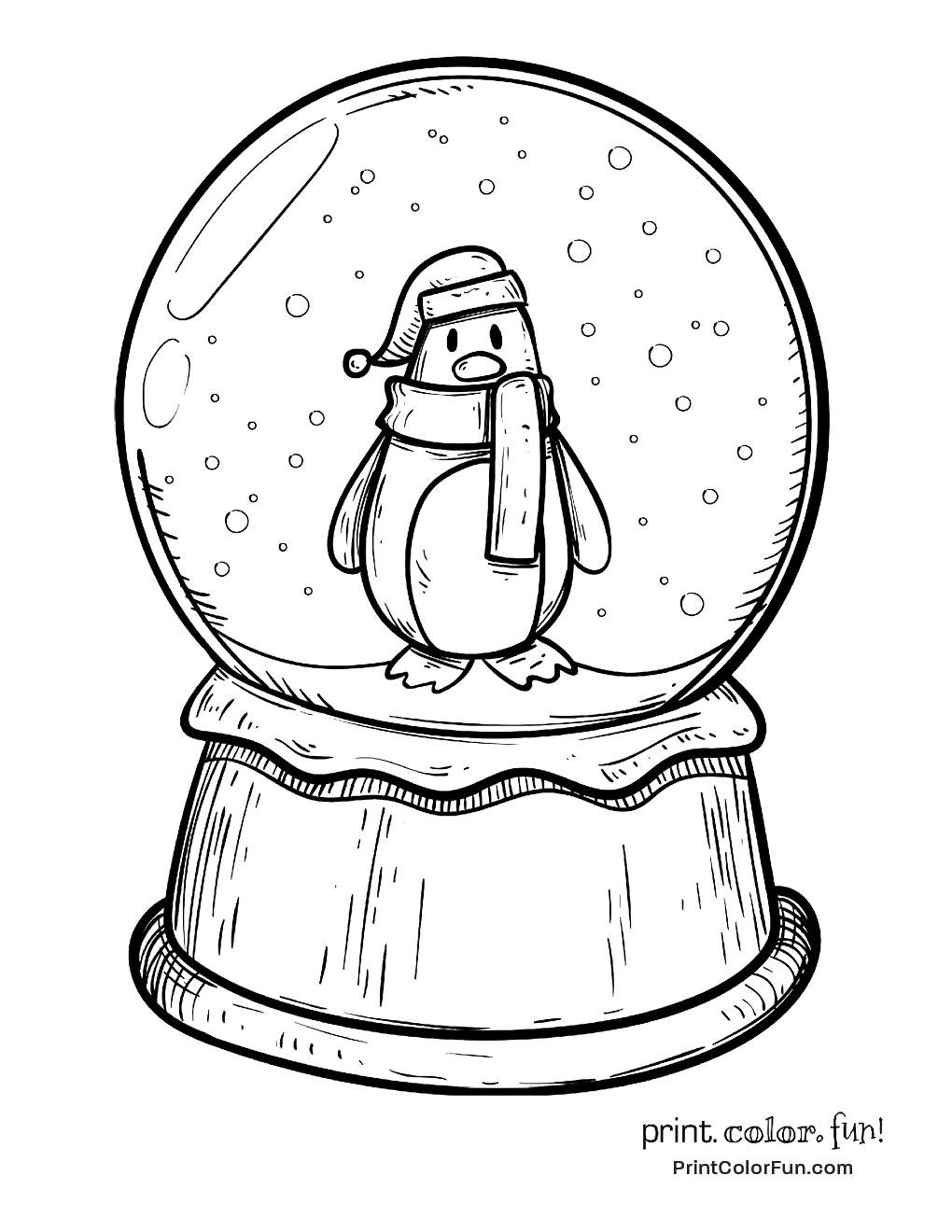 1020x1320 Winter Snow Globe With A Penguin Coloring Page