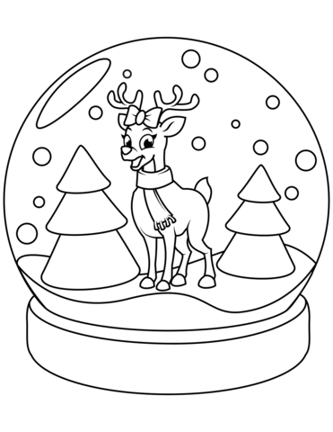 371x480 Christmas Snow Globe With Reindeer Coloring Page Free Printable