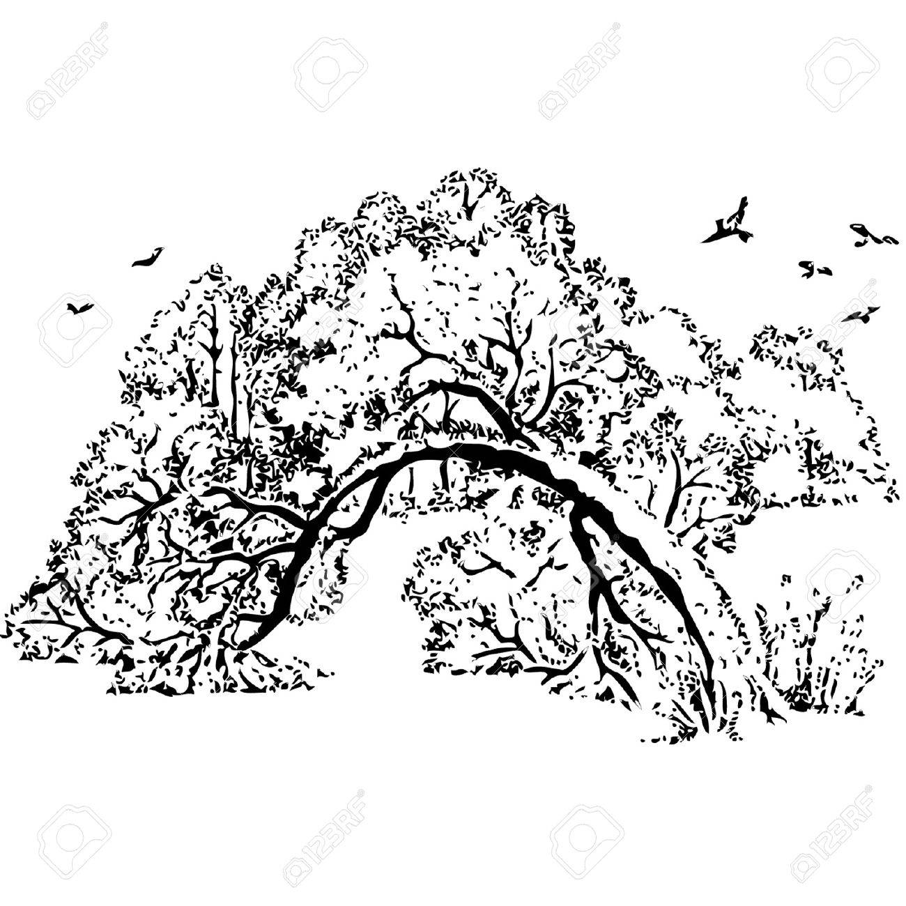 1300x1300 Hand Drawn Vector Illustration.winter Landscape, The Fallen Tree