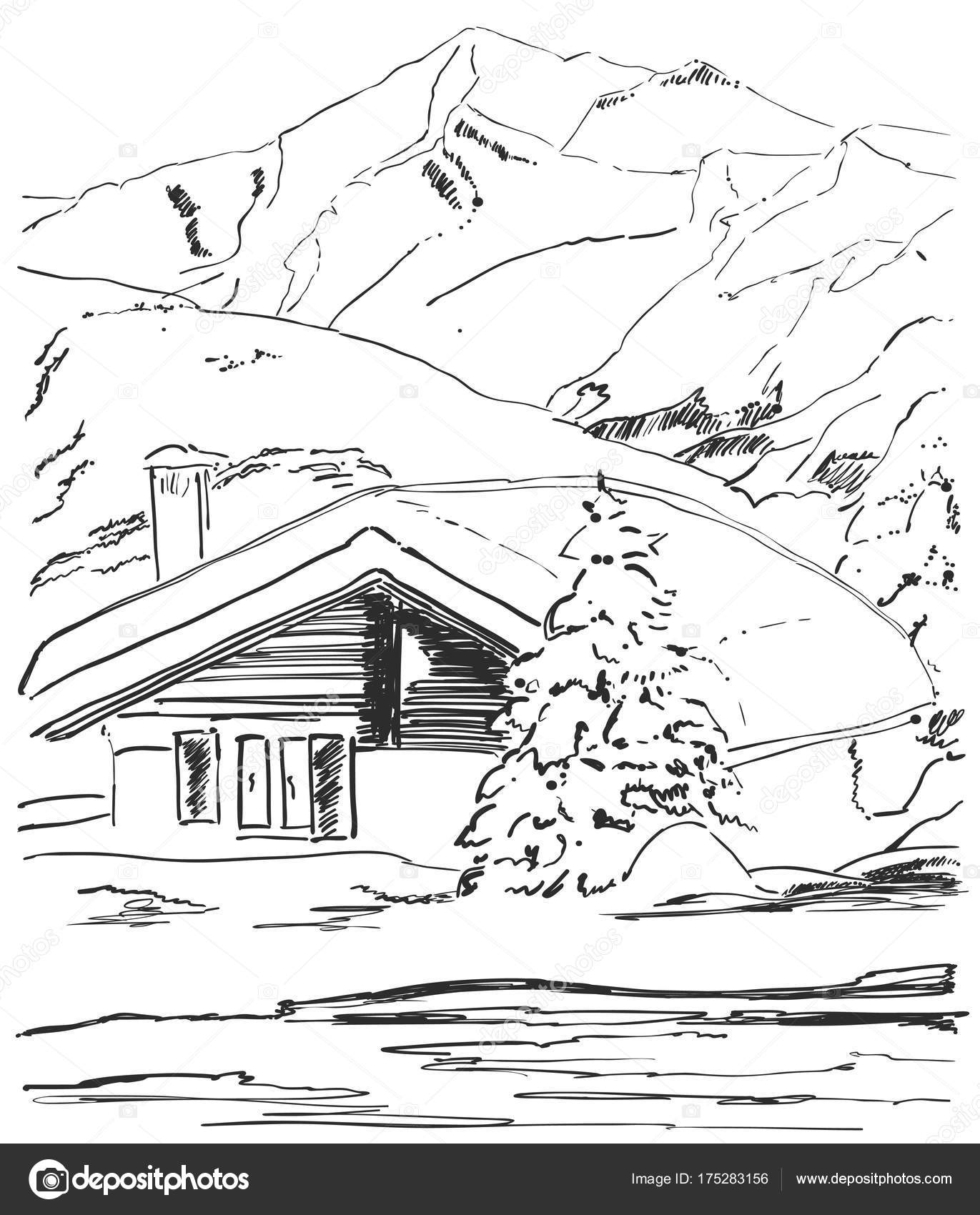 1371x1700 Vector Graphic Sketch. Winter Forest Landscape With Snow Covered