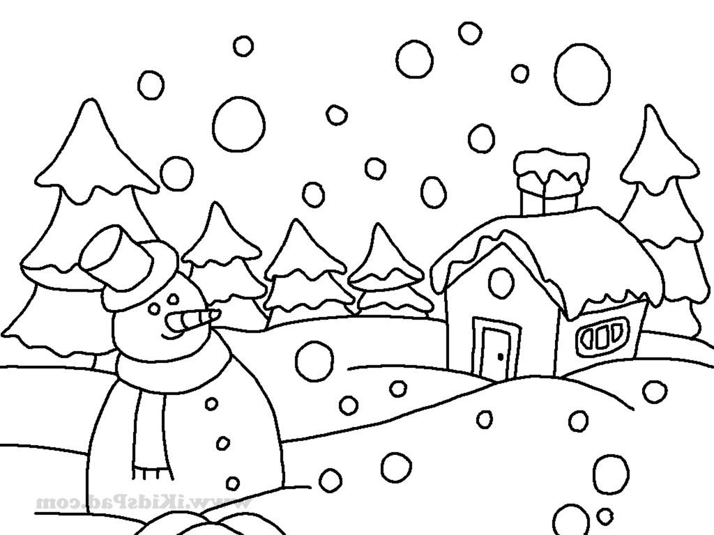 1024x768 Winter Landscape Drawing For Kids Winter Coloring Pages Coloring