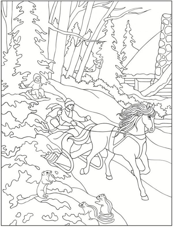 600x788 Winter Scene Coloring Page