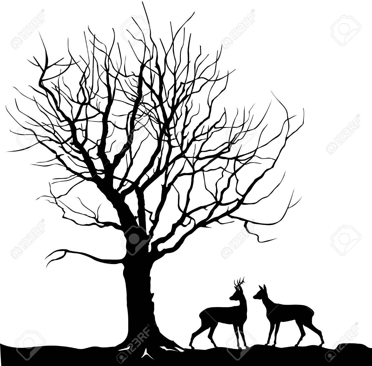 1300x1280 Animal Over Tree Forest Landscape With Deer. Abstract Vector