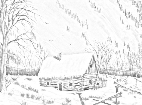 472x348 Cabin In The Snow Country And Landscape Downloadable Adult Adult