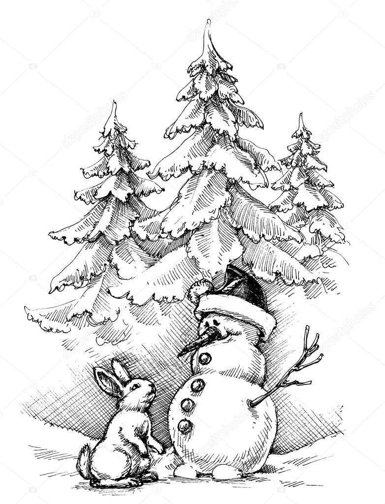 782x1024 Christmas Funny Scene, Winter Landscape Stock Vector Danussa