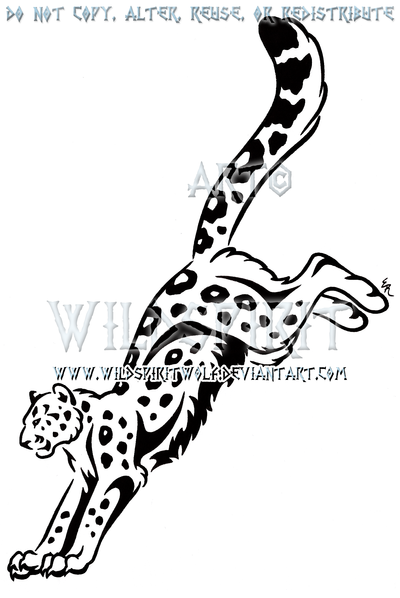 400x598 Leaping Snow Leopard Tribal Design By Wildspiritwolf