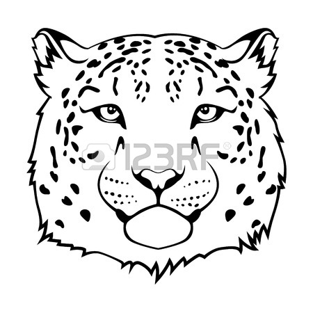 450x450 Snow Leopard S Head Isolated On White Royalty Free Cliparts