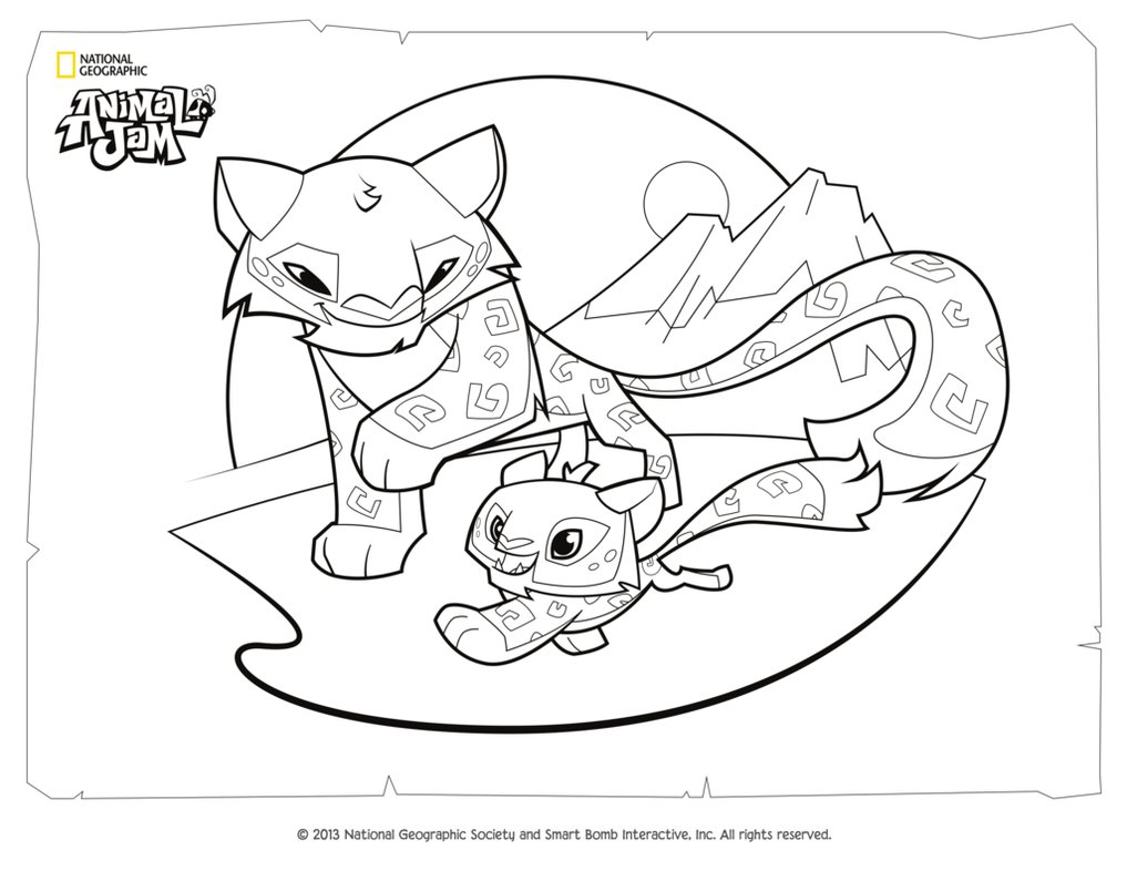1017x786 Animal Jam Coloring Page Snow Leopard And Her Cub By