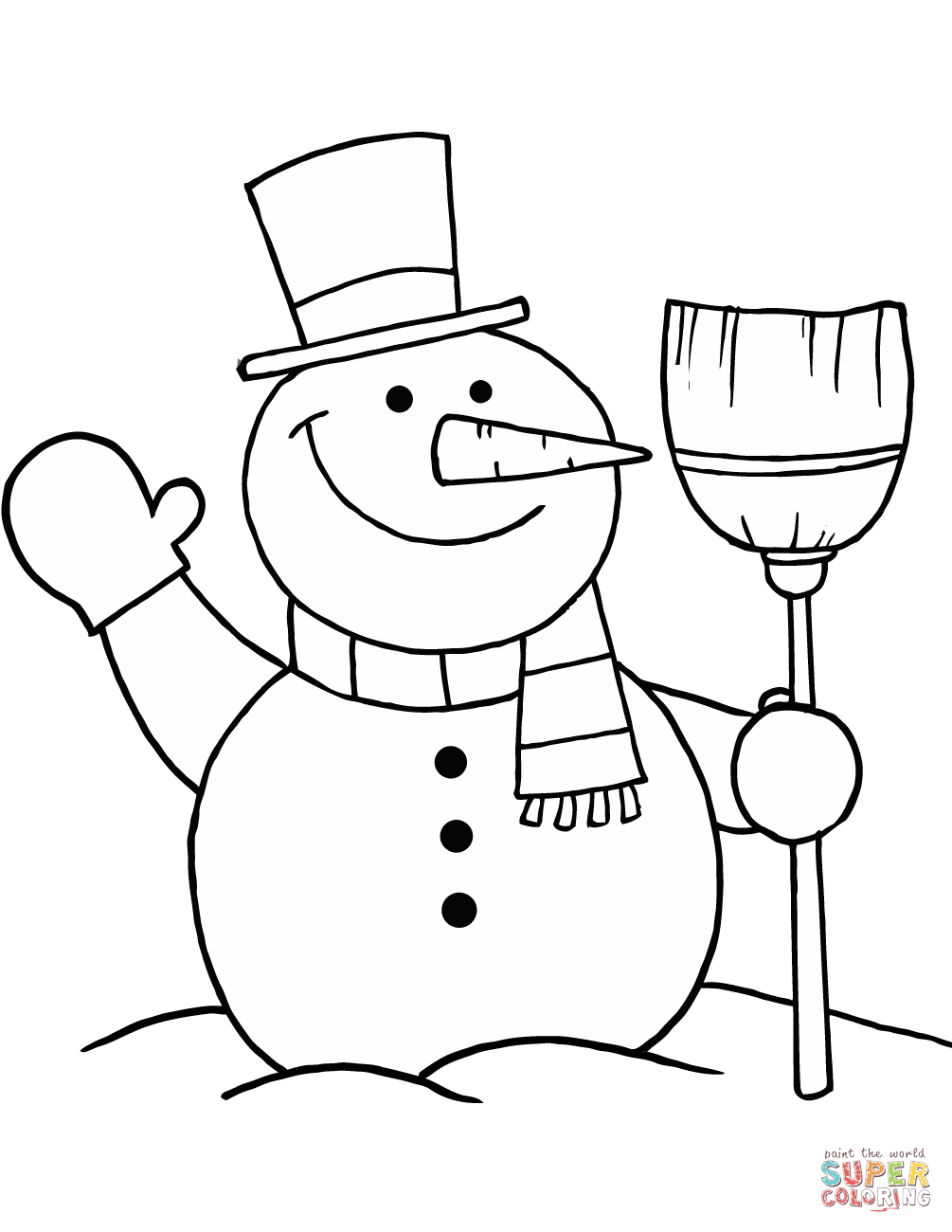 1005x1300 Snowman With Broom Coloring Page Free Printable Pages