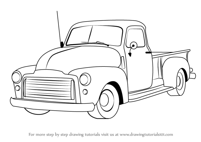800x566 Learn How To Draw A Gmc Pickup Truck (Trucks) Step By Step