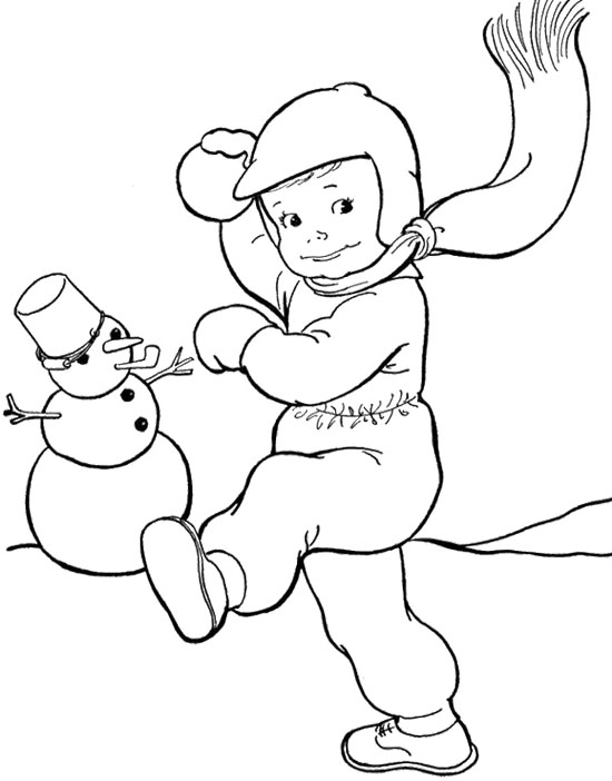 550x702 Throwing Snowballs Winter Coloring Page Winter