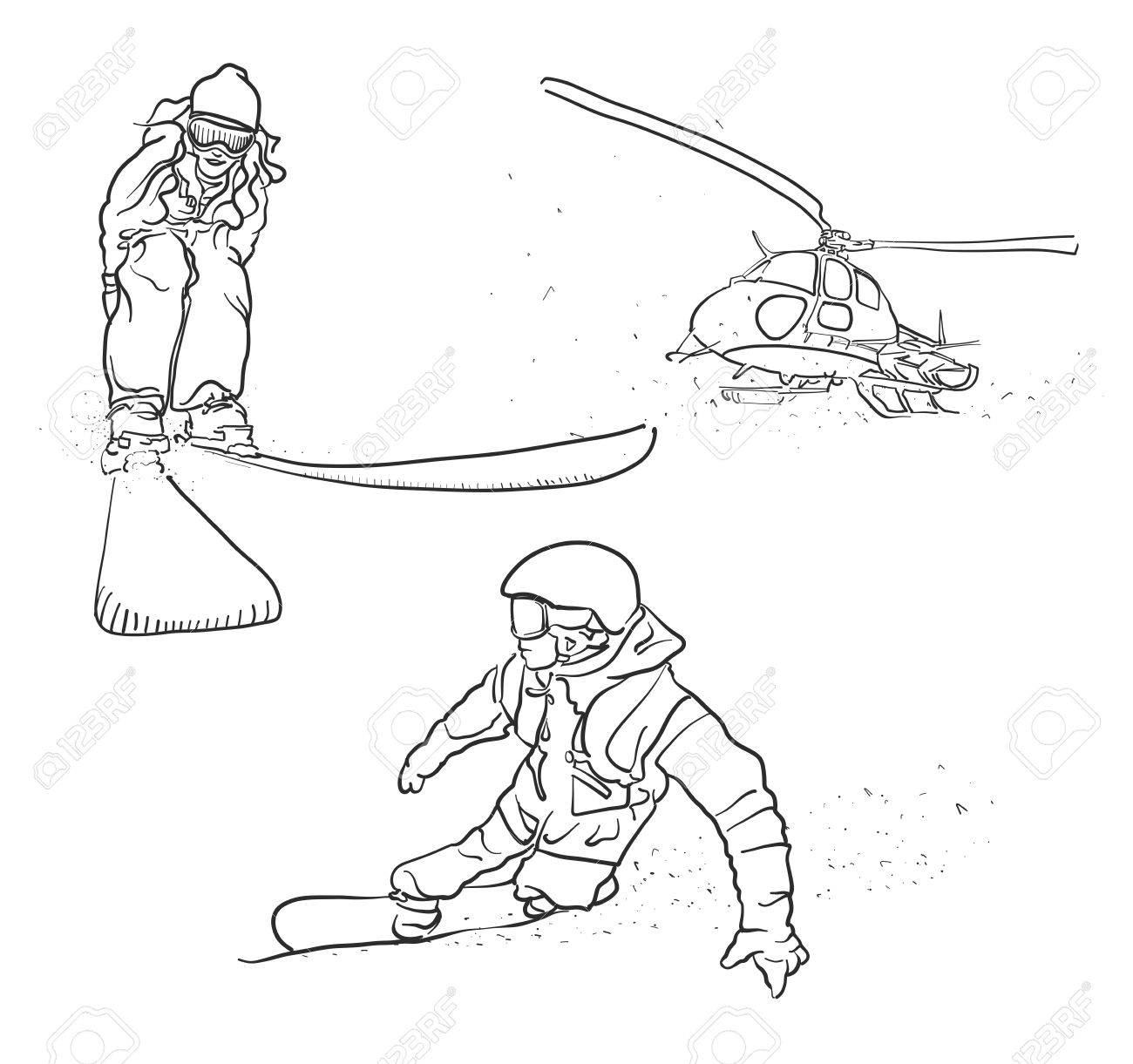 1300x1221 Skiing, Snowboarding And Helicopter Doodle Sketches, Hand Drawn