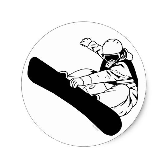 540x540 Snowboarding 3 Classic Round Sticker