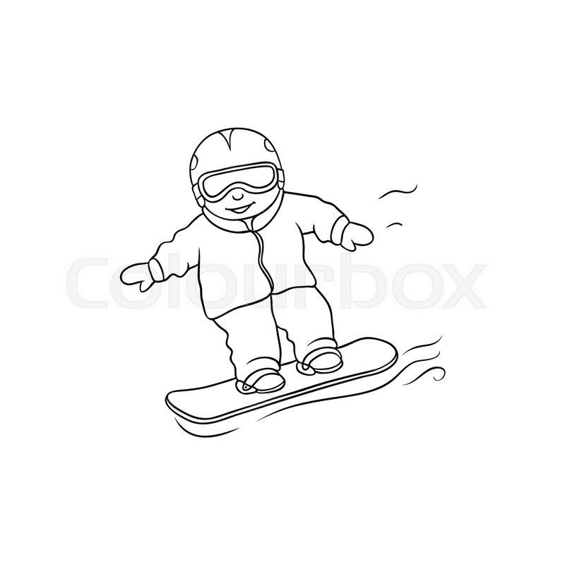 800x800 Vector Flat Cartoon Monochrome Teen Boy Kid Having Fun Riding