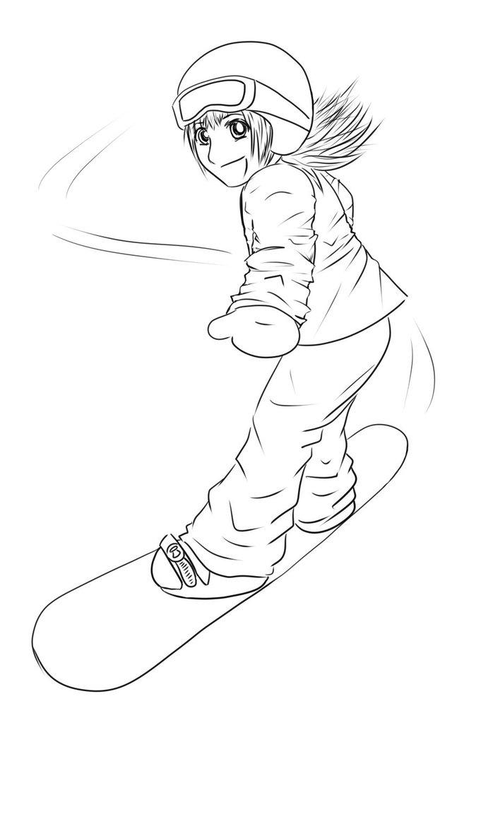 691x1156 Yoko95 Snowboarding Lineart By Yoko95