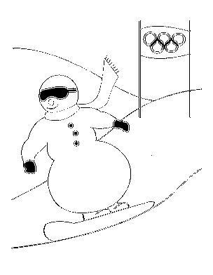 304x392 Coloring Page Cartoon Snowman Snowboarding