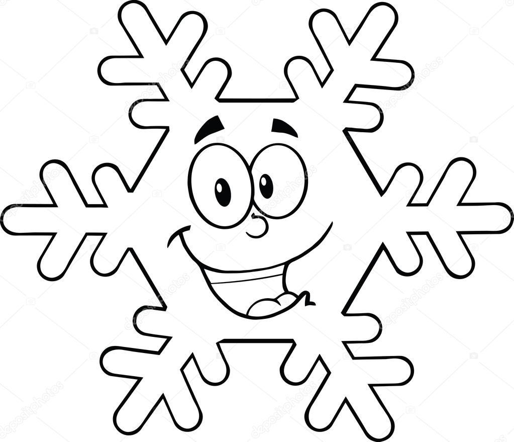 1023x879 Black And White Snowflake Cartoon Character Stock Photo
