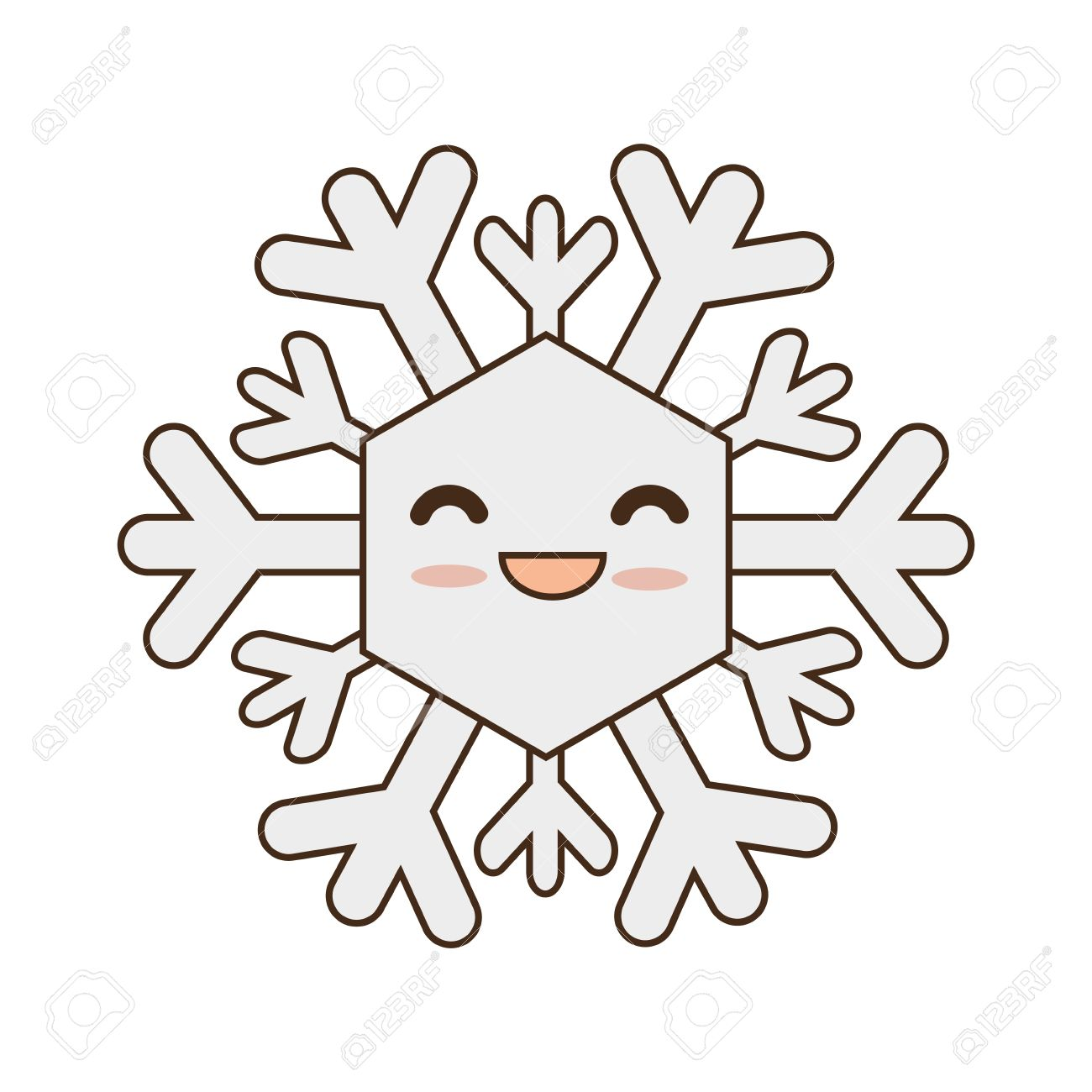 1300x1300 Winter Cute Snowflake Cartoon With Happy Face Smiling. Vector
