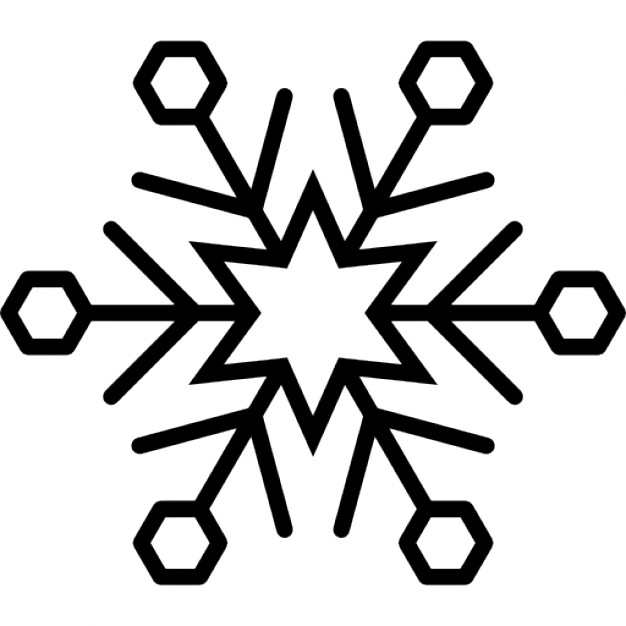 626x626 Snowflake Variant With Star And Hexagon Outlines Icons Free Download