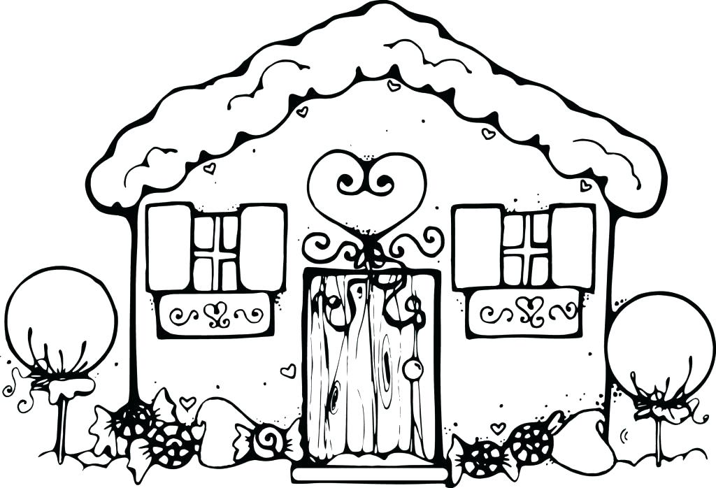 1024x698 Free Gingerbread Coloring Pages Blank Gingerbread House Coloring