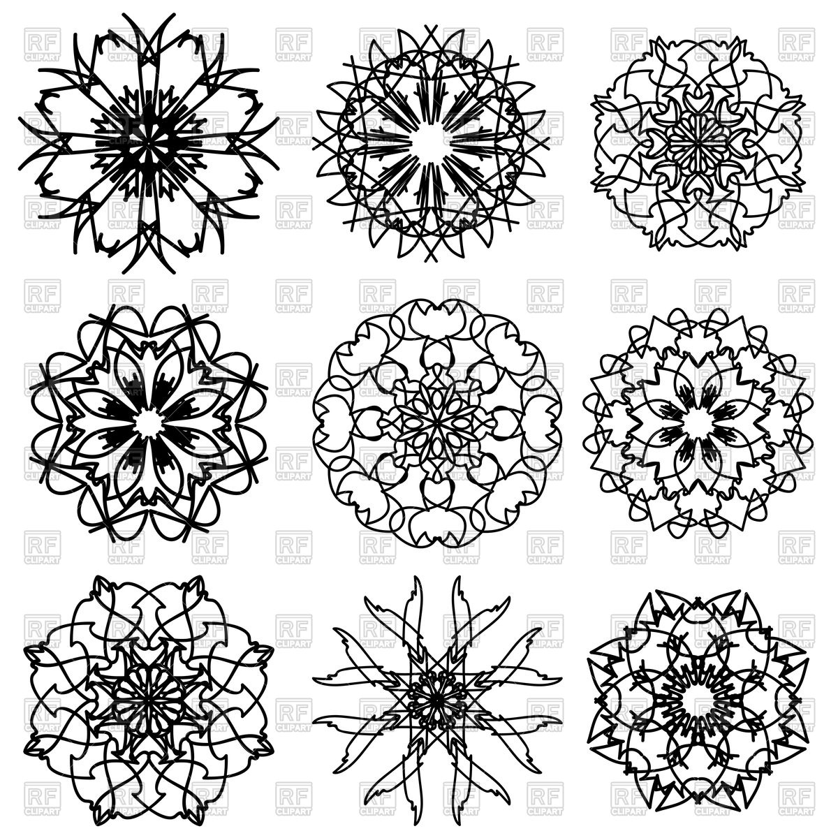 1200x1200 Ornamental Snowflake Patterns Royalty Free Vector Clip Art Image
