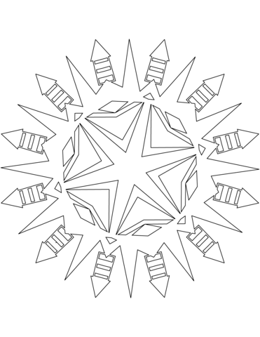 371x480 Snowflake With Firework Rocket Pattern Coloring Page Free