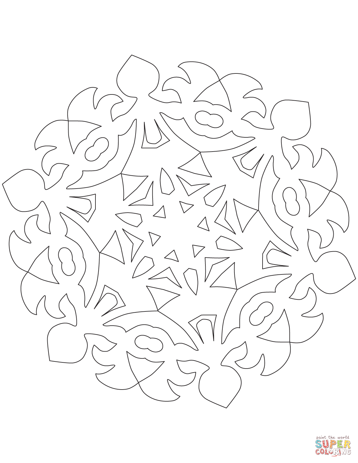 1159x1500 Snowflake With Round Dance Pattern Coloring Page Free Printable