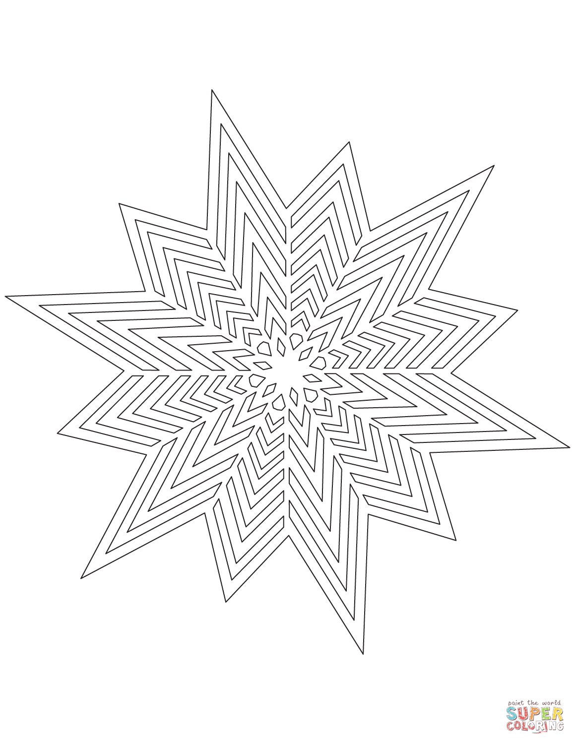 1159x1500 Snowflake With Thin Crystals Pattern Coloring Page Free