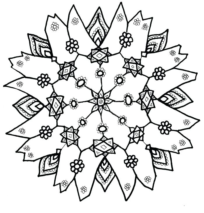 700x728 Christmas Snowflakes Coloring Pages Print