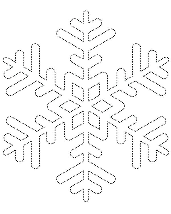 600x750 coloring page snowflake dotted line snowflakes coloring page - Snowflake Coloring Page