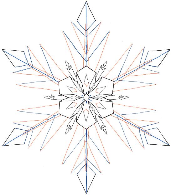 546x624 Drawn Line Snowflake