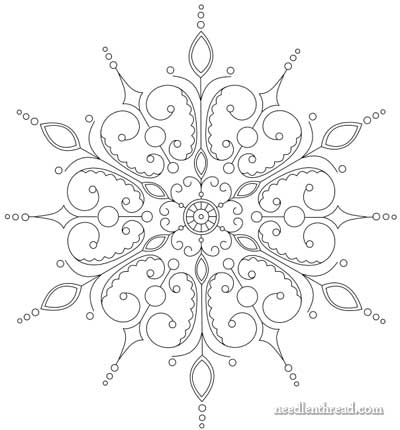 400x430 Free Hand Embroidery Pattern Snowflake!