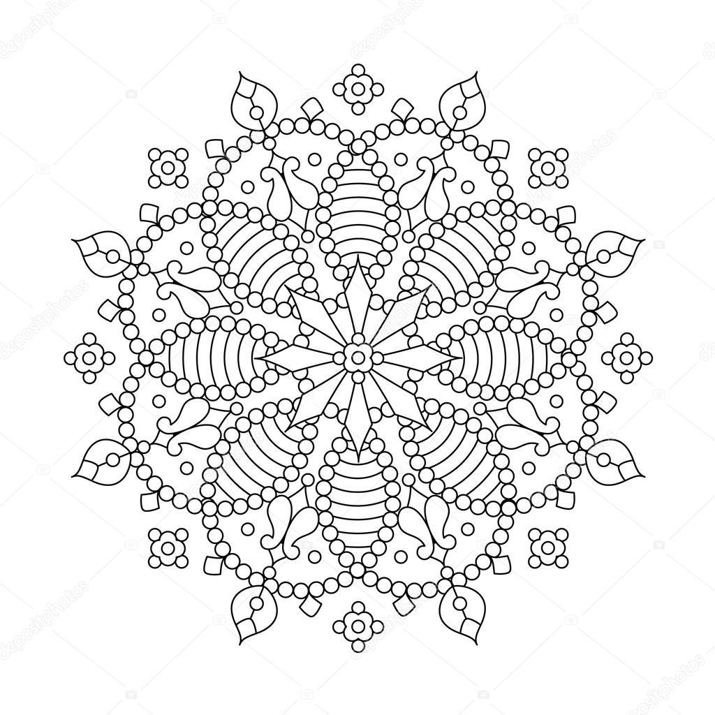 1024x1024 Mandala Or Whimsical Snowflake Line Art Design Stock Vector