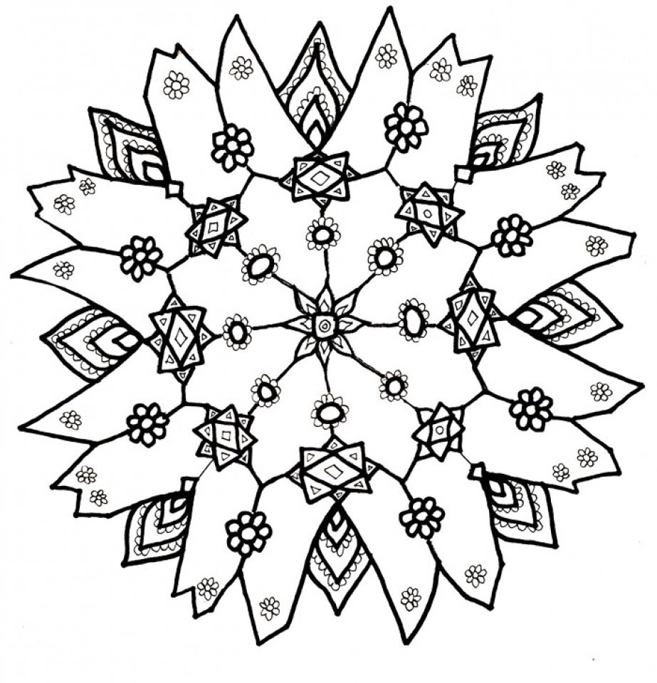 923x960 Snowflake Color Pages Free Coloring Page