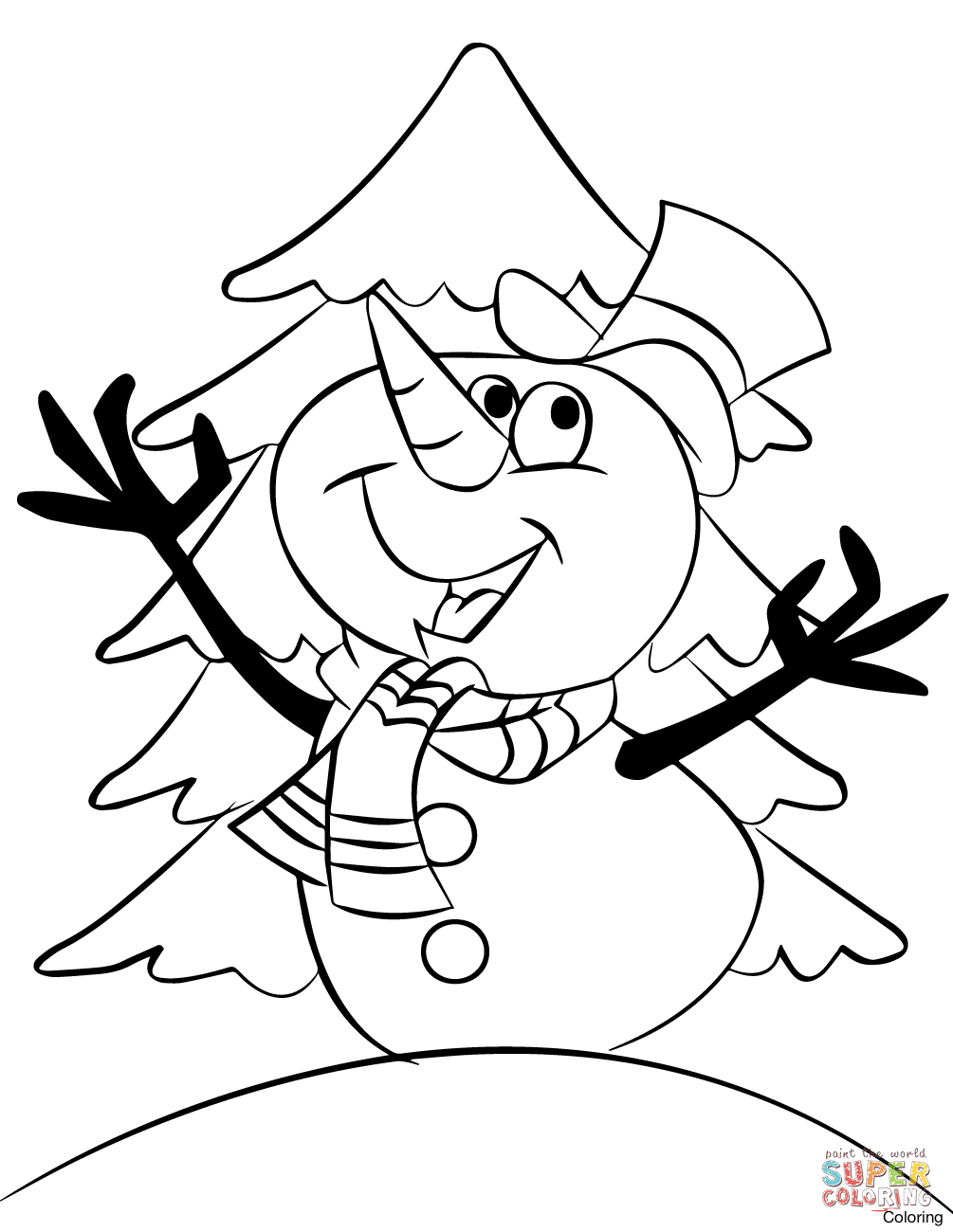 This is a photo of Witty Free Snowman Coloring Pages