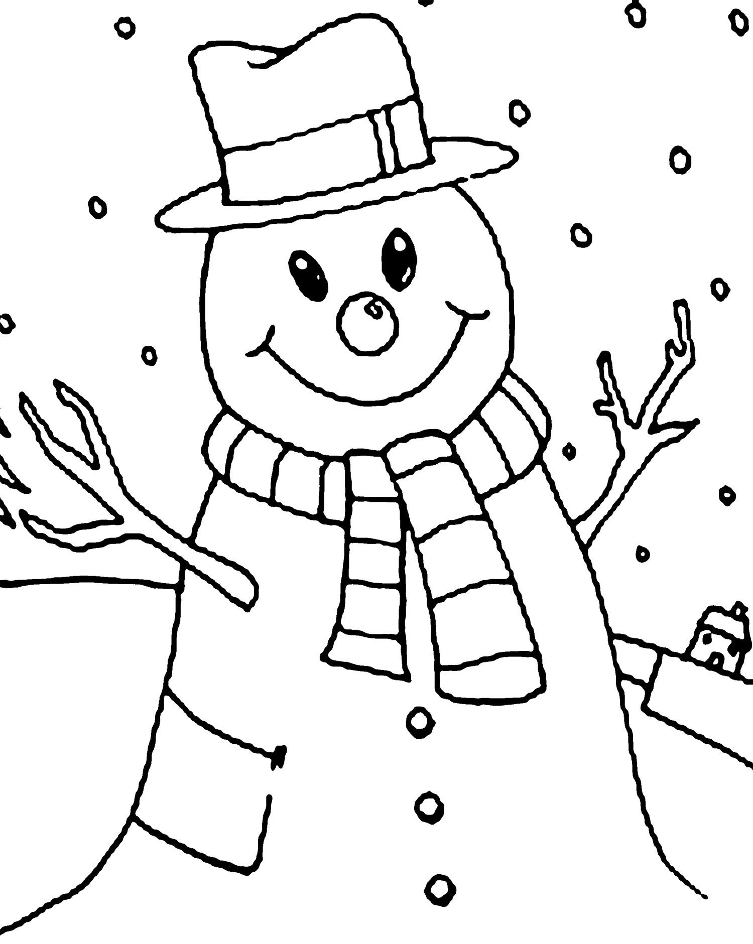 1500x1881 Winter Snowman Coloring Page Winter Snowman