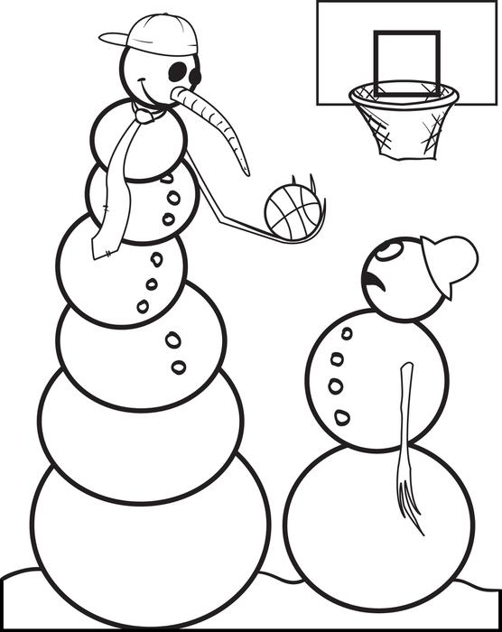 556x700 FREE Printable Snowman Playing Basketball Coloring Page For Kids