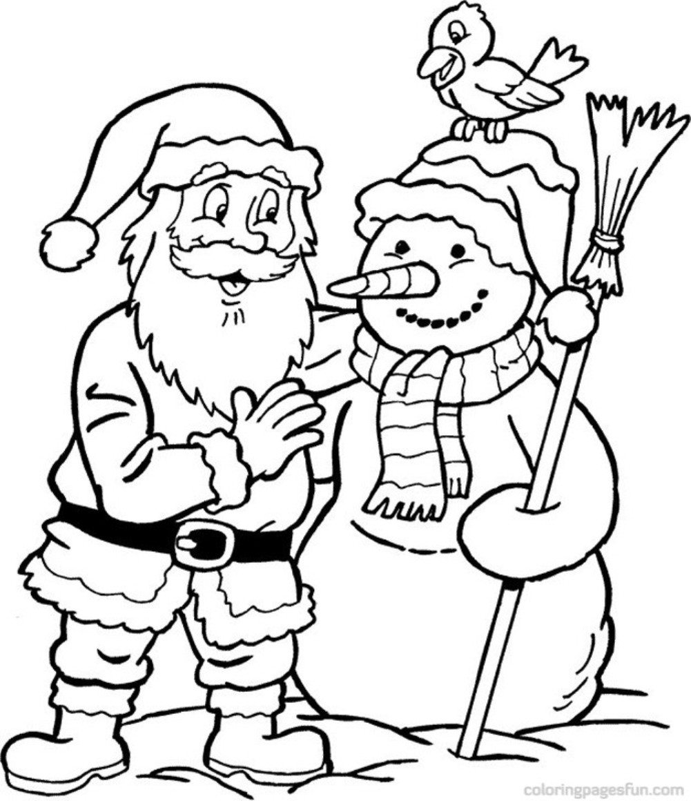 1001x1160 Snowman Santa Coloring Page Christmas Pages Of With Regard To
