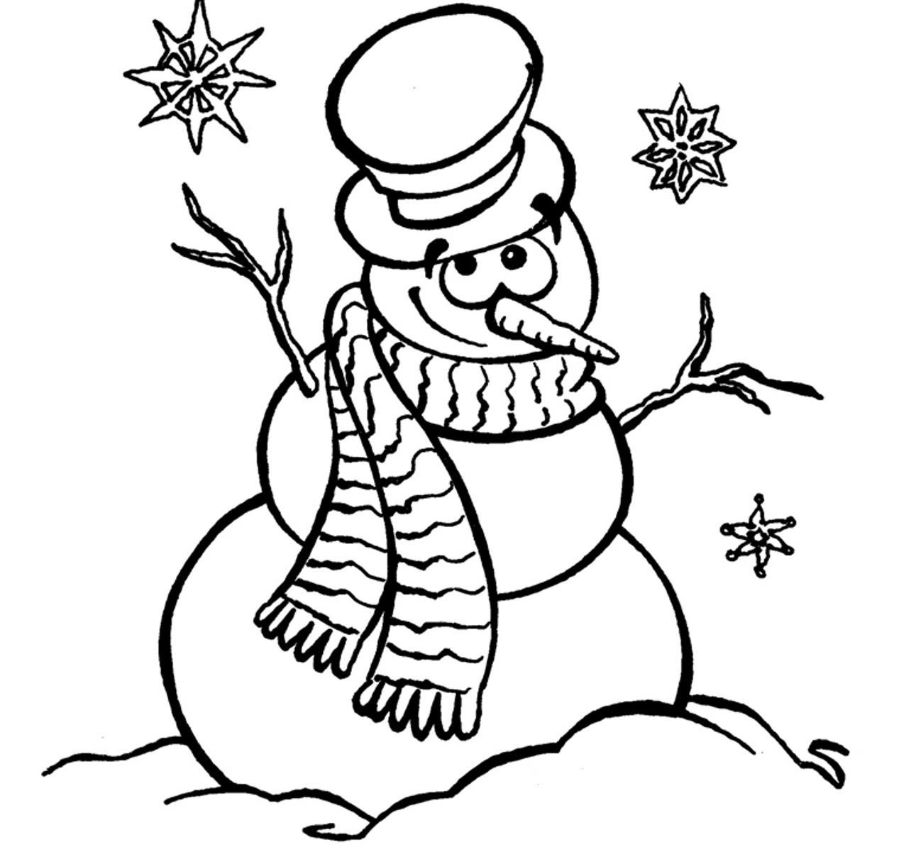 1291x1194 Drawn Snowman Colouring Page
