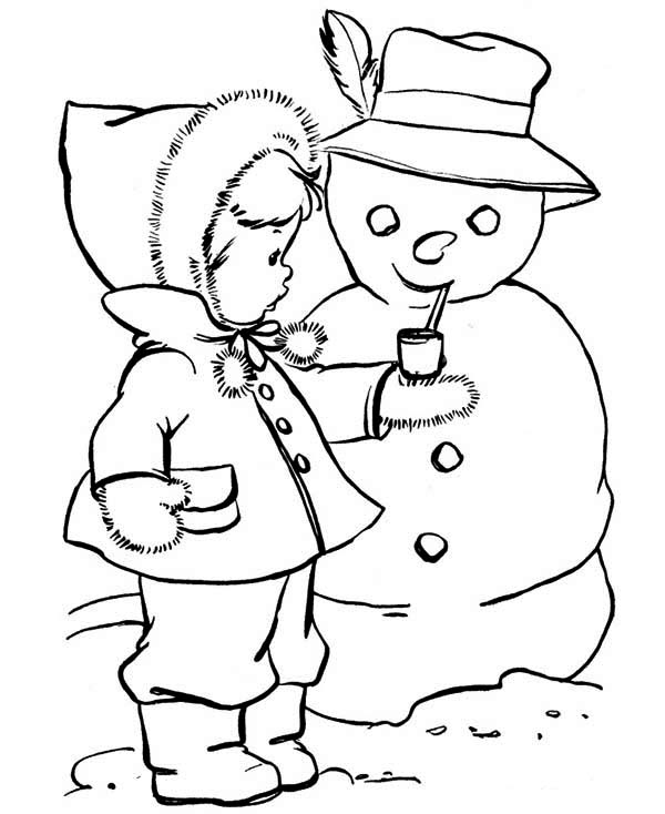 600x734 Kids Drawing Of Snowman Coloring Page Kids Drawing Of Snowman