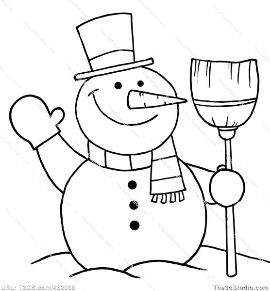 556x600 Snowman Clipart Black And White Christmas Snowman Outline Clipart