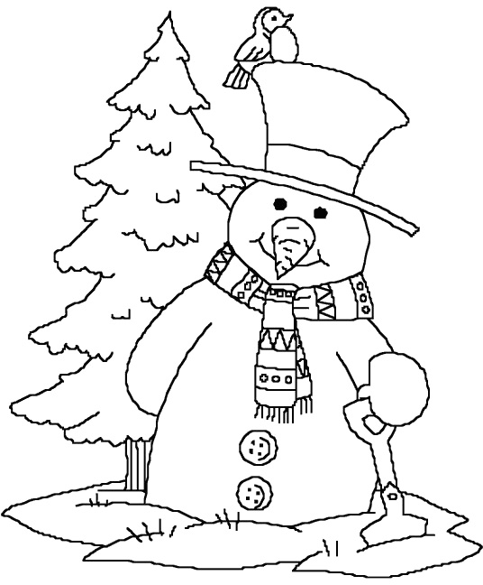 536x648 Cute Christmas Snowman Coloring Pages Preschool For Cure Draw