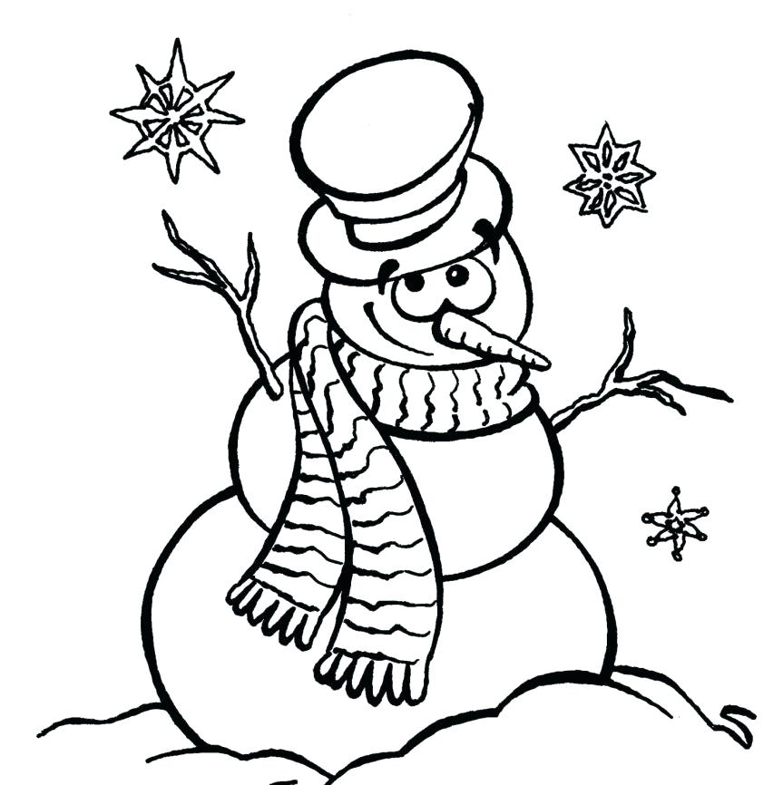 863x866 Snowman Coloring Pages For Preschool And Pin Drawn Snowman