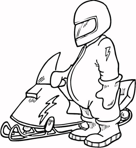 441x480 Snowmobile Driver Coloring Page Free Printable Coloring Pages