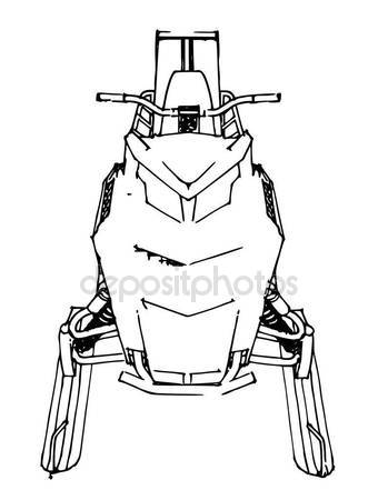 340x450 Snowmobile. Vector Illustration In A Hand Made Style. Types